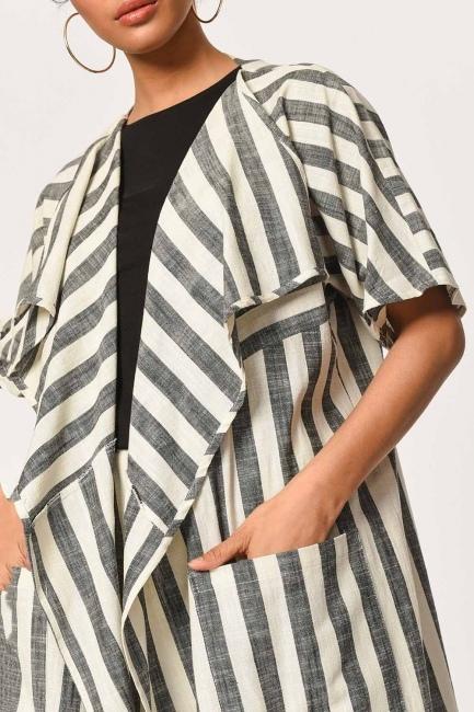 MIZALLE - Keten Çizgili Uzun Kimono Hırka (Ekru/Anta) (1)