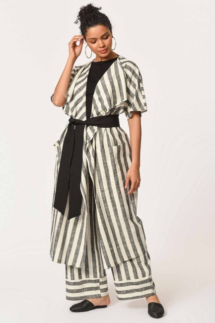 MIZALLE - Linen Striped Long Cardigan (Ecru/Anthracite) (1)