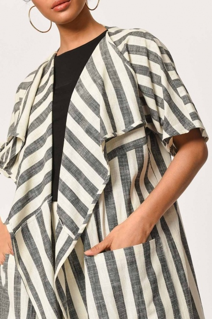 Keten Çizgili Uzun Kimono Hırka (Ekru/Anta) - Thumbnail