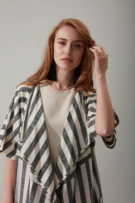 Çizgili Keten Antrasit Kimono - Thumbnail
