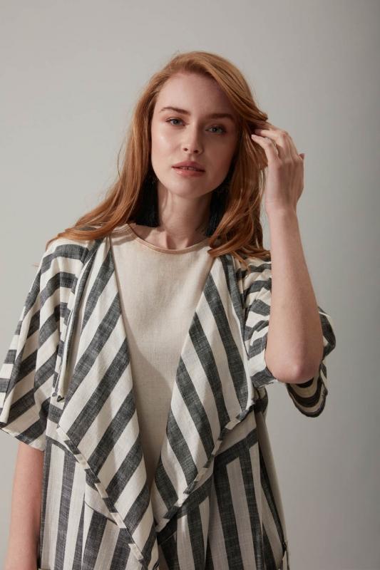 Çizgili Keten Antrasit Kimono