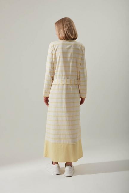 Keten Dokulu Cepli Sarı Elbise - Thumbnail