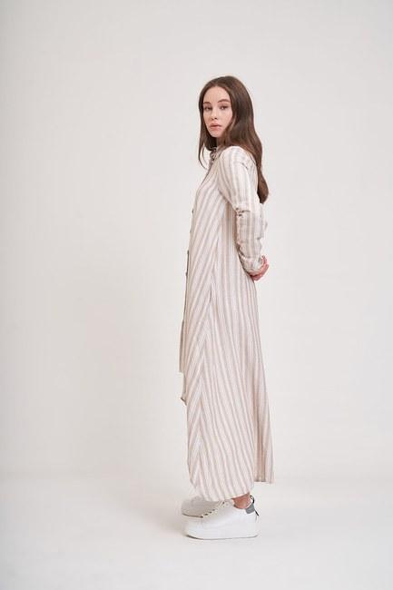 MIZALLE YOUTH - Keten Dokulu Tunik Elbise (Bej) (1)