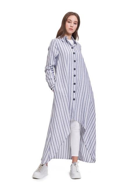 Mizalle Youth Keten Dokulu Tunik Elbise (Lacivert)