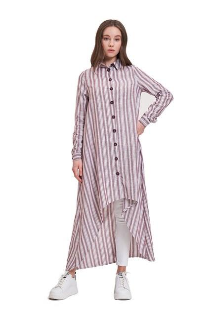 Keten Dokulu Tunik Elbise (Mürdüm) - Thumbnail