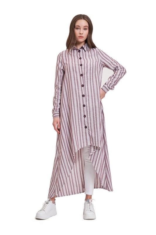 Keten Dokulu Tunik Elbise (Mürdüm)