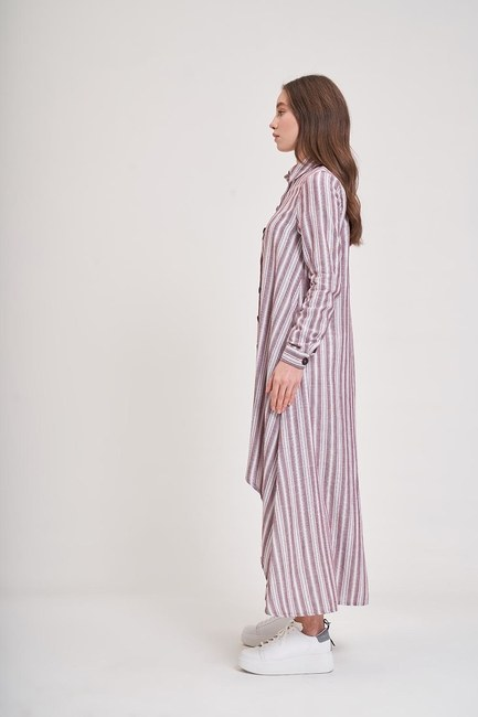 MIZALLE YOUTH - Keten Dokulu Tunik Elbise (Mürdüm) (1)