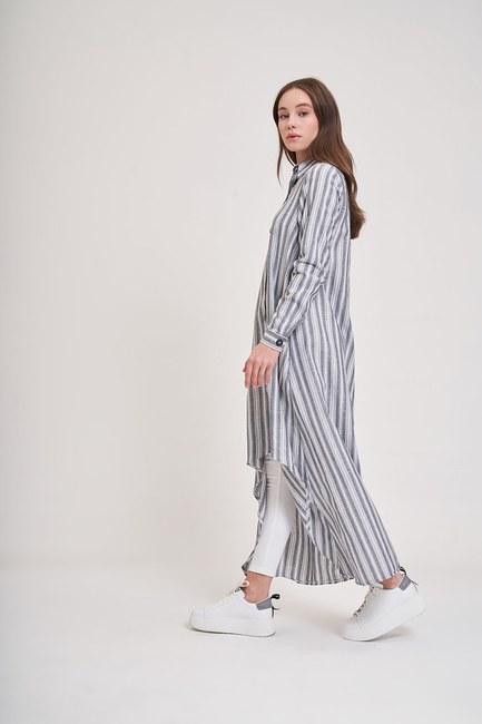 MIZALLE YOUTH - Keten Dokulu Tunik Elbise (Siyah) (1)