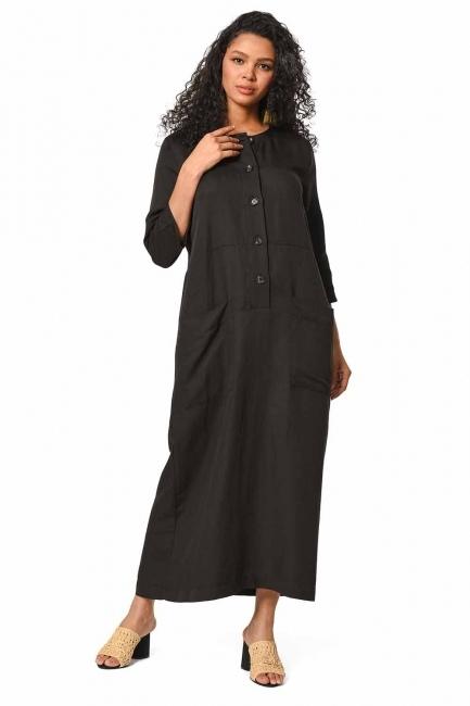 فستان الكتان طويل بأزرار أمامية (أسود) - Thumbnail