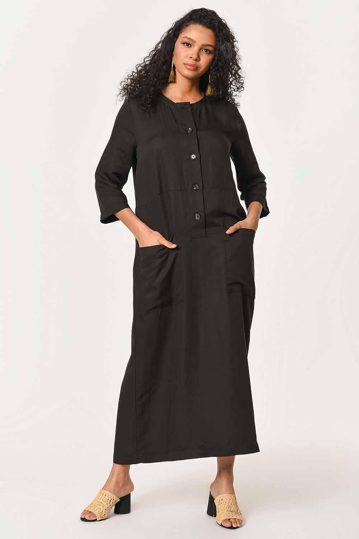 MIZALLE فستان الكتان طويل بأزرار أمامية (أسود) (1)