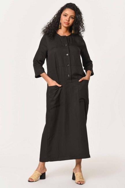MIZALLE - Keten Önden Düğmeli Uzun Elbise (Siyah) (1)