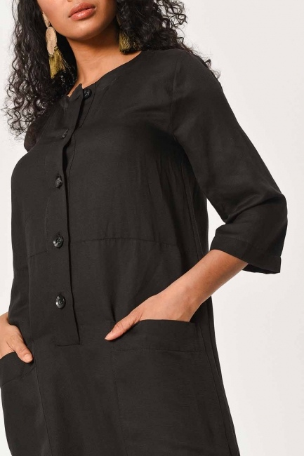 Keten Önden Düğmeli Uzun Elbise (Siyah) - Thumbnail