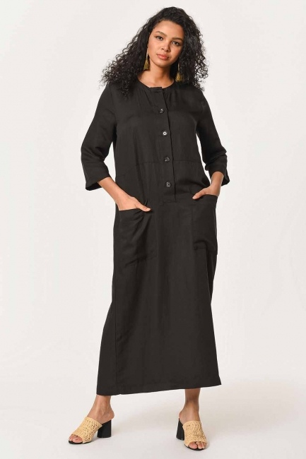 MIZALLE - Front Button Linen Long Dress (Black) (1)