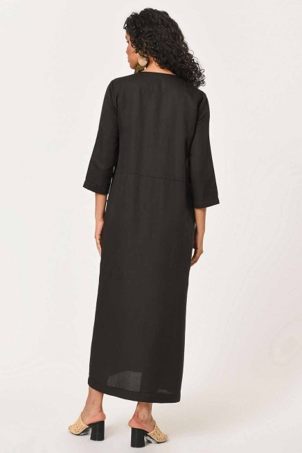 Front Button Linen Long Dress (Black) - Thumbnail