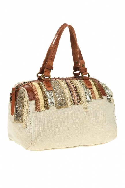 MIZALLE - حقيبة يد من الكتان بالترتر (عَاجِيّ) (1)