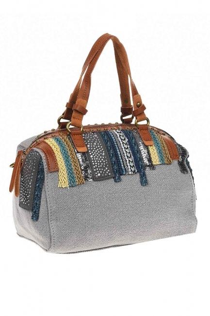 MIZALLE - حقيبة يد من الكتان بالترتر (رَمَادِيّ) (1)