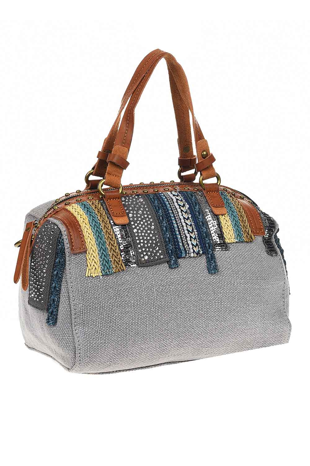 MIZALLE Linen Arm Bag (Grey) (1)