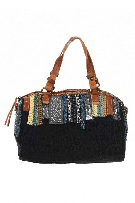 MIZALLE - Linen Arm Bag (Black) (1)