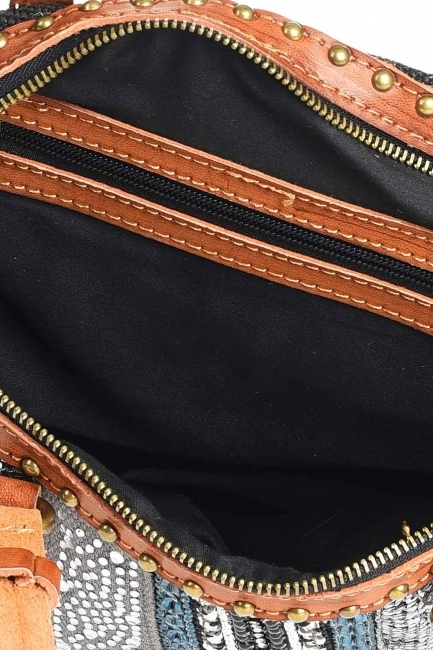 Keten Pullu Kol Çantası (Siyah) - Thumbnail