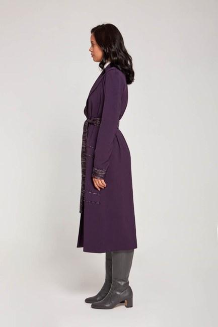 MIZALLE - حزام مفصل مزخرف معطف الخندق (الأرجواني) (1)