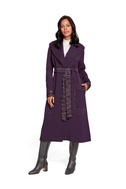 MIZALLE Belt Detailed Garnished TrenchCoat (Purple)
