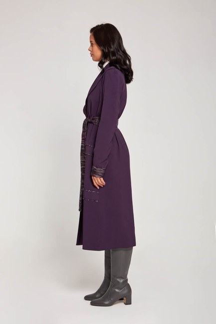 MIZALLE - Belt Detailed Garnished TrenchCoat (Purple) (1)