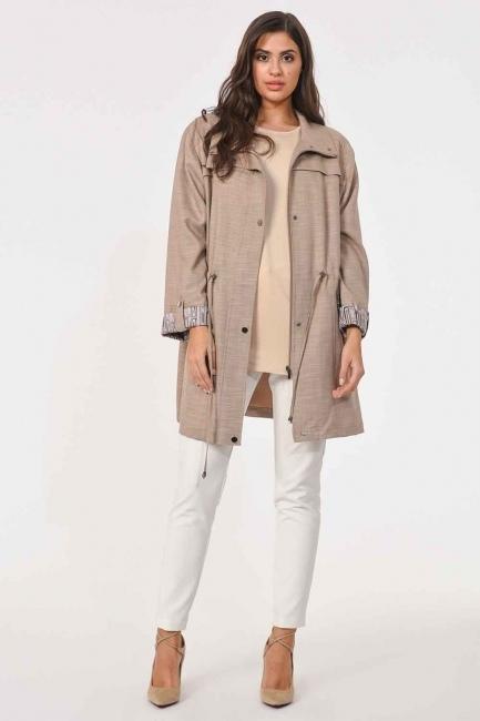 MIZALLE - خندق معطف خشن حجم كبير(بِيج) (1)