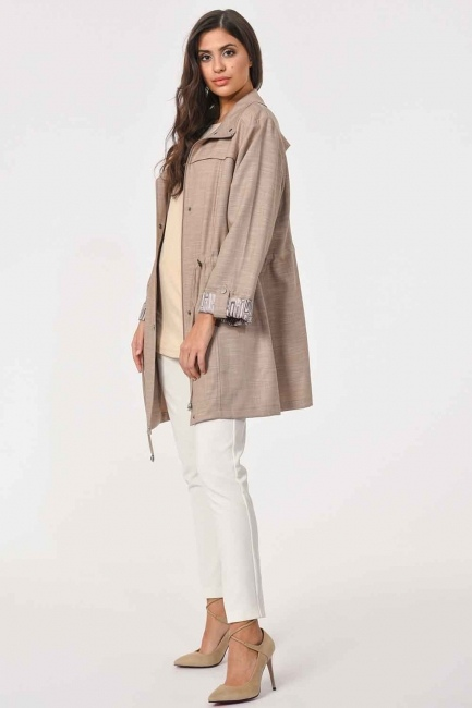Plus Size Trenchcoat (Beige) - Thumbnail