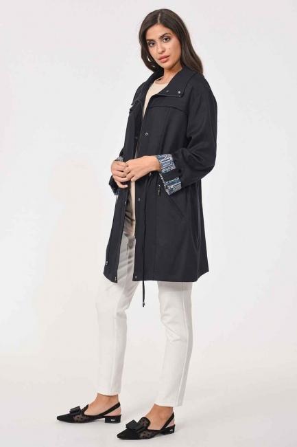 MIZALLE - خندق معطف خشن حجم كبير(كُحْلِيّ) (1)
