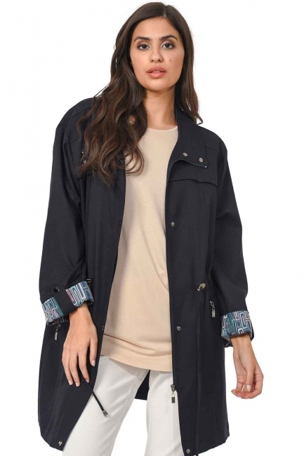 MIZALLE Plus Size Trenchcoat (Navy Blue)