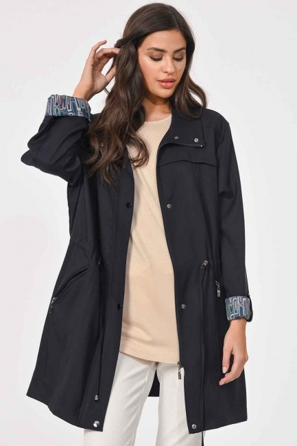Plus Size Trenchcoat (Navy Blue) - Thumbnail