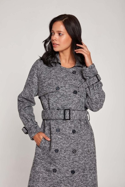 MIZALLE - Flecked TrenchCoat (Grey) (1)