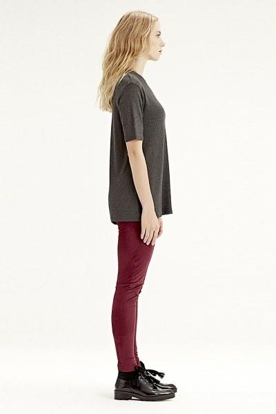 MIZALLE - Kısa Kollu T-Shirt (Füme) (1)