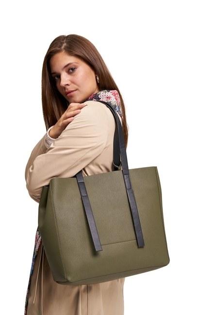 MIZALLE - حقيبة ذراع كلاسيكية كبيرة (كاكي) (1)