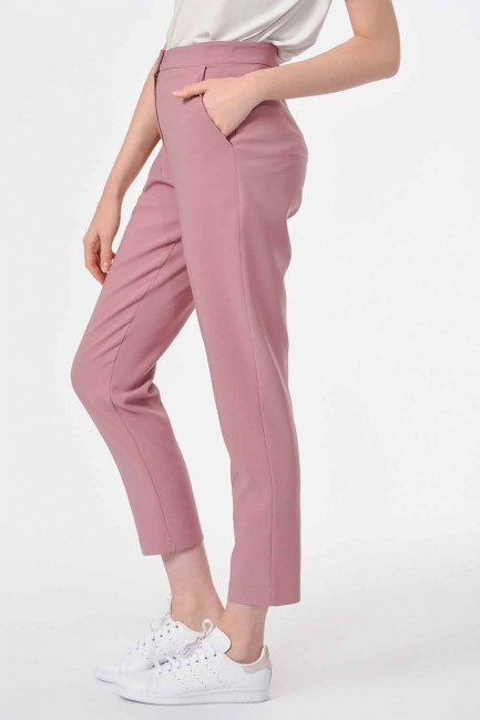 Classic Narrow Leg Trousers (Rose) - Thumbnail