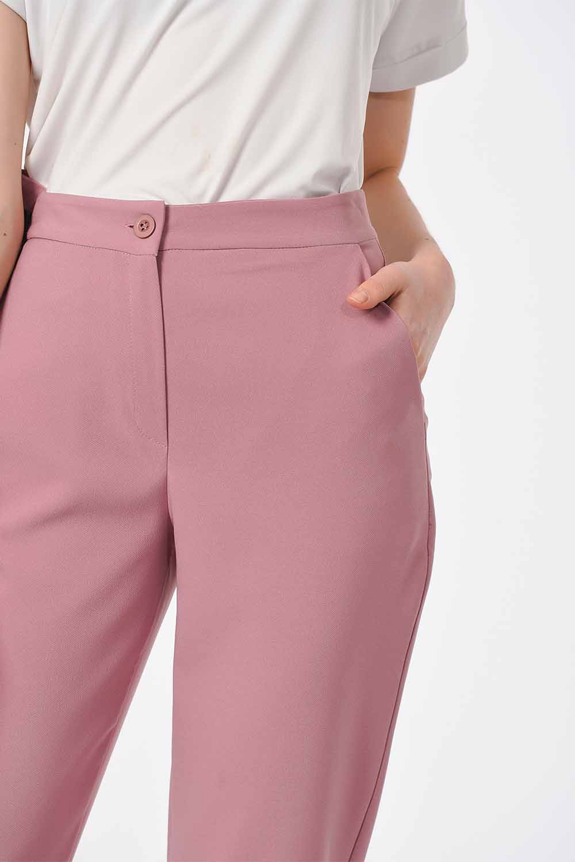 MIZALLE Classic Narrow Leg Trousers (Rose) (1)