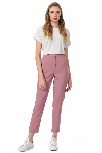 MIZALLE Classic Narrow Leg Trousers (Rose)