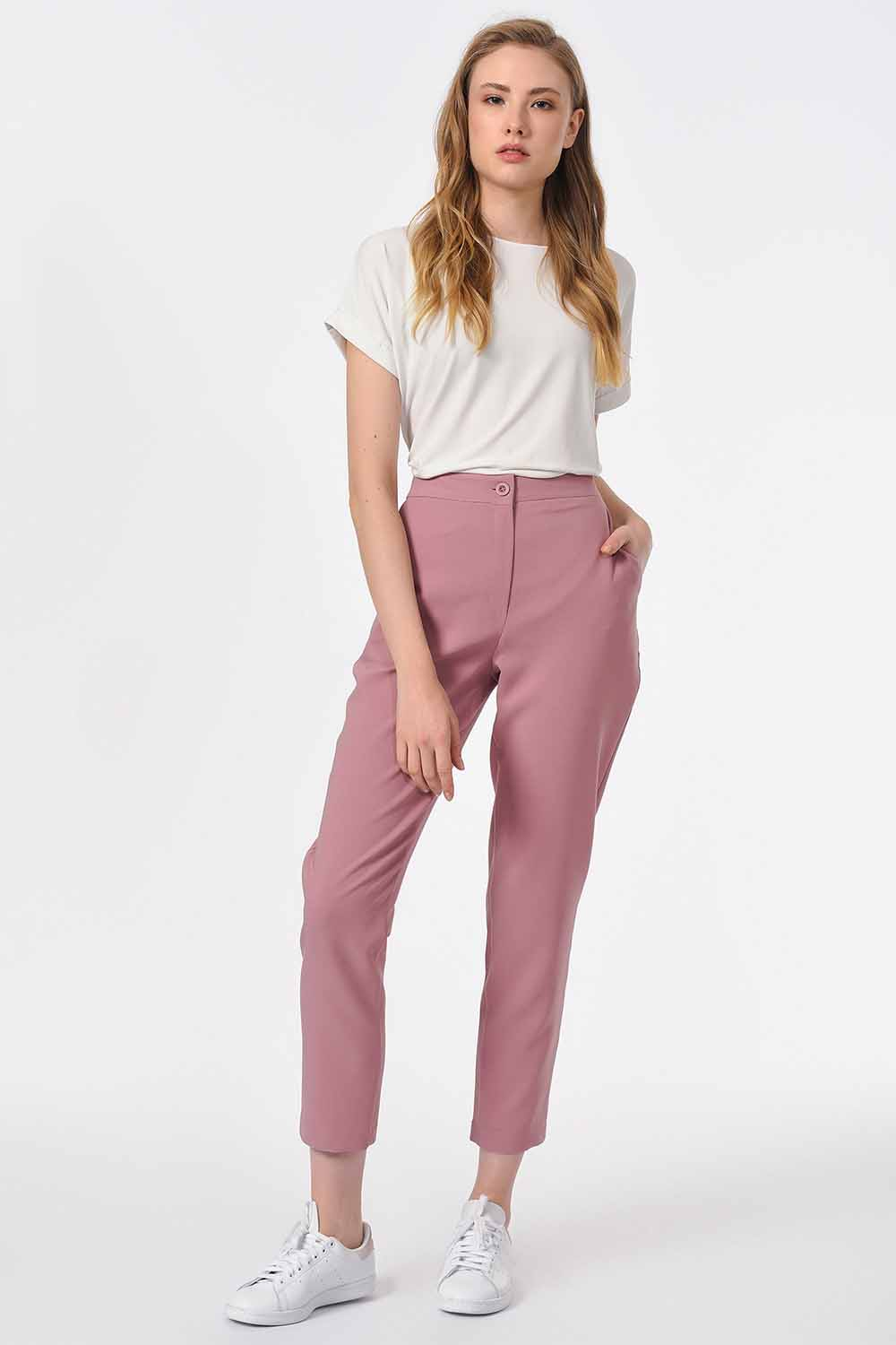 MIZALLE Classic Narrow Leg Trousers (Rose) (1)