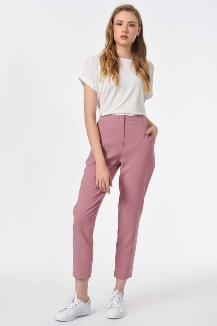 MIZALLE - Classic Narrow Leg Trousers (Rose) (1)