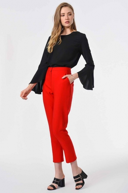 MIZALLE - Classic Narrow Leg Trousers (Orange-Red) (1)