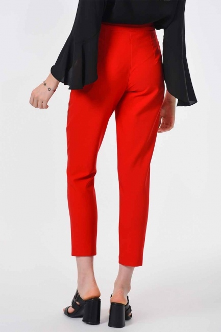 Classic Narrow Leg Trousers (Orange-Red) - Thumbnail