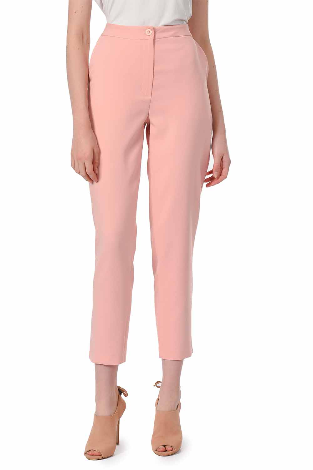 MIZALLE Classic Narrow Leg Trousers (Powder) (1)