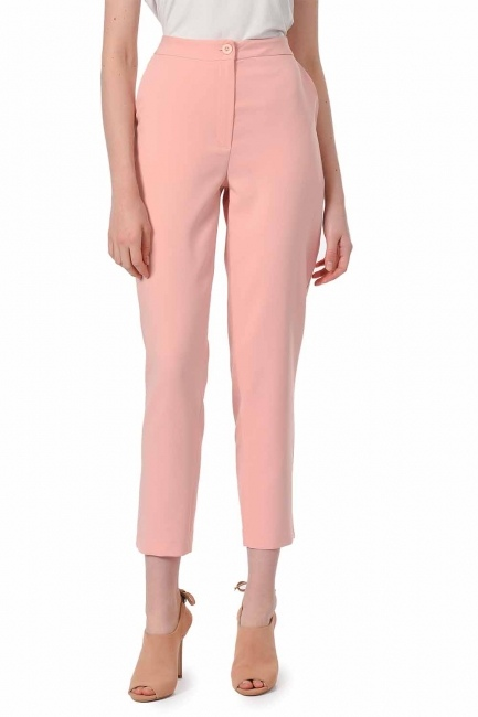 MIZALLE - Classic Narrow Leg Trousers (Powder) (1)