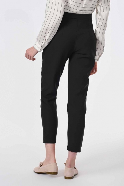 Classic Narrow Leg Trousers (Black) - Thumbnail
