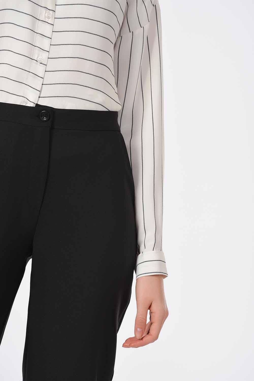 MIZALLE Classic Narrow Leg Trousers (Black) (1)