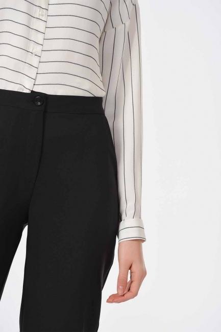 MIZALLE - Classic Narrow Leg Trousers (Black) (1)