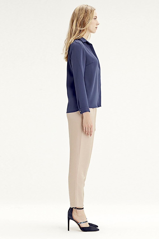 MIZALLE قميص كلاسيكي(أزرق داكن) (1)
