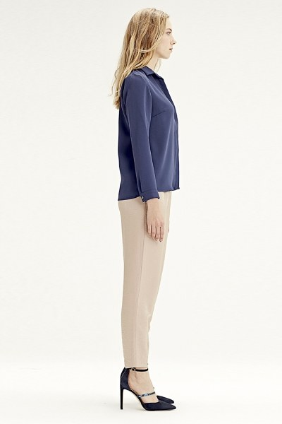 MIZALLE - Classic Shirt (Navy Blue) (1)