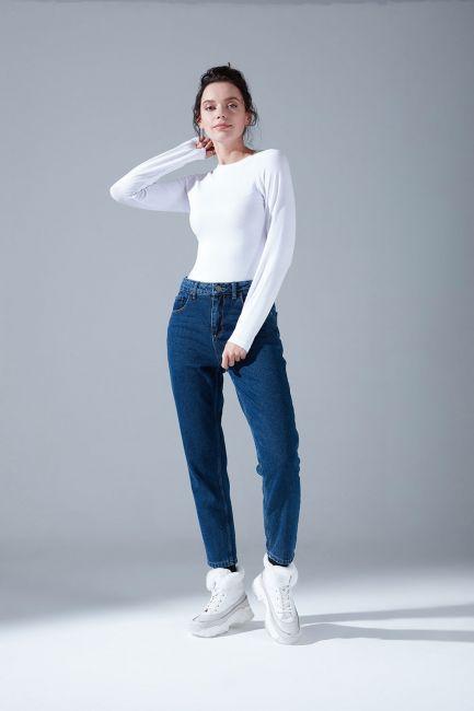 Mizalle - Klasik Mom Denim Pantolon (İndigo)