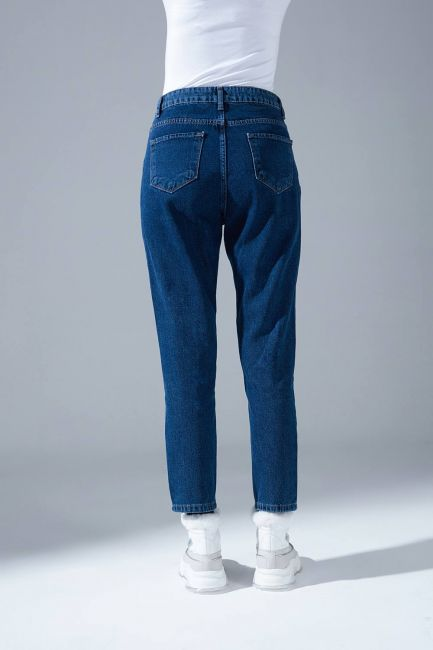 Klasik Mom Denim Pantolon (İndigo) - Thumbnail